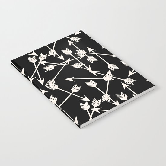 Arrows - Black and White by Andrea Lauren Notebook