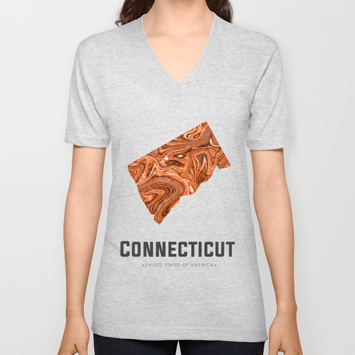 Connecticut - State Map Art - Abstract Map - Brown Unisex V-Neck