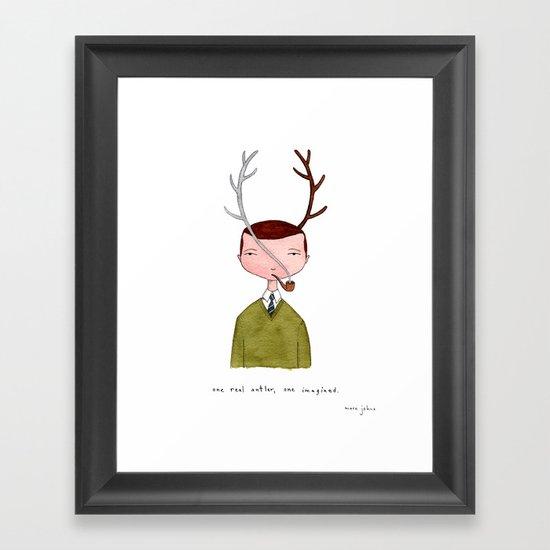 One real antler, one imagined Framed Art Print
