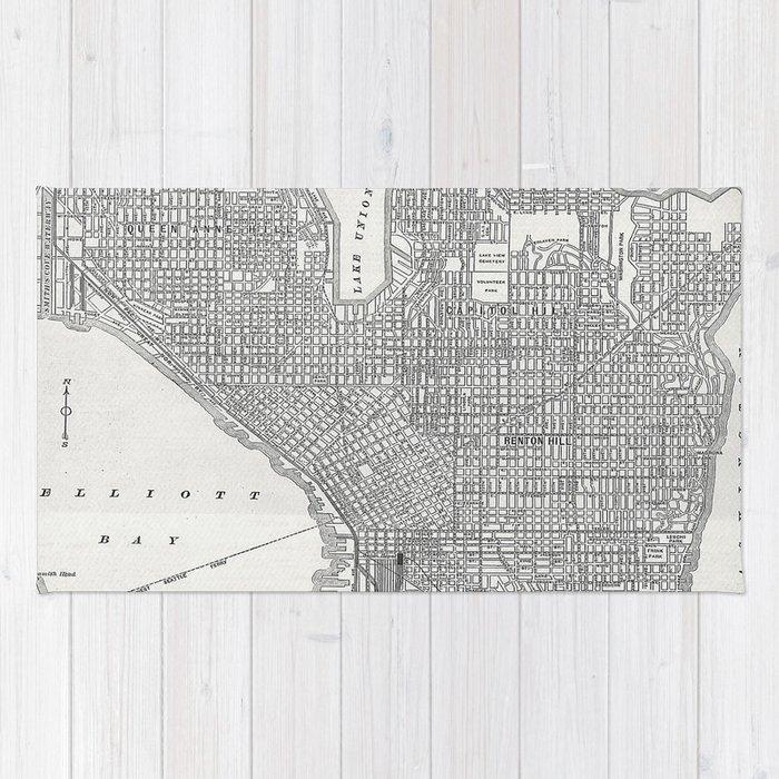 Vintage Rug Seattle: Vintage Seattle Map Rug By Toddspencer