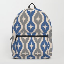 Mid century Modern Bulbous Star Pattern Blue and Gray Backpack