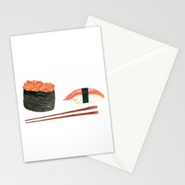 Watercolor Sushi Rolls And Chopsticks Stationery Cards