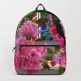 PINK ROSE CLUSTERS & GREEN PEACOCK GREY ART Backpack