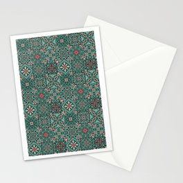 Peranakan Art Nouveau Tiles (Mixed Patterns in Peach Garden) Stationery Cards