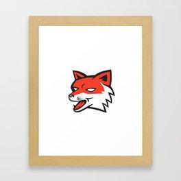 Red Fox Head Growling Retro Framed Art Print
