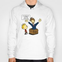 calvin and hobbes Hoodies featuring Calvin and the Doctor by sugarpoultry