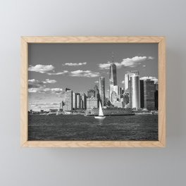 View of the Financial District from Governors Island B&W Framed Mini Art Print