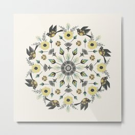Blackbird Floral Mandala Metal Print