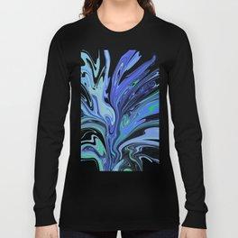 Blue Black Paint Spill Long Sleeve T-shirt