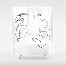 """"""" Kitchen Collection """" - Hands Holding Hot Cup Of Coffee/Tea Shower Curtain"""