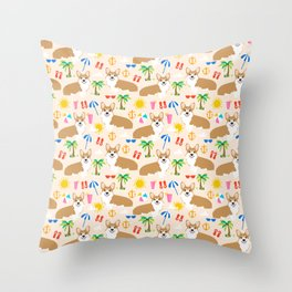 Corgi Summer Beach design - cute corgis at the beach Throw Pillow