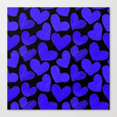 Sketchy hearts in dark blue and black Canvas Print
