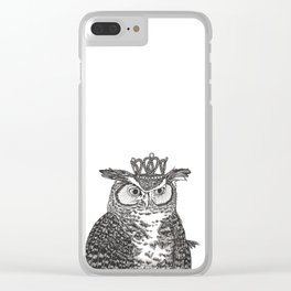 Great Horned Owl Wearing a Glittering Crown Clear iPhone Case