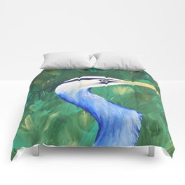 Heron in the Grass Comforters