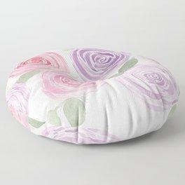 Pink and Purple Garden Roses Floor Pillow