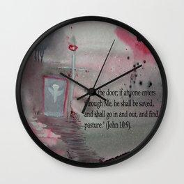 The Door----Religious Abstract Art --- John 10:9 --- by Saribelle Rodriguez Wall Clock