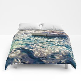 Fishing Boat in Santorini Comforters