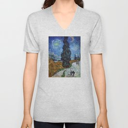 Vincent van Gogh - Road with Cypress and Star Unisex V-Neck