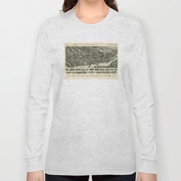 Vintage Pictorial Map of Shelton CT (1919) Long Sleeve T-shirt