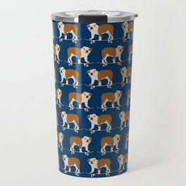 English Bulldog skateboard funny pet portrait cute gift for dog person dog lover bulldog owner gifts Travel Mug
