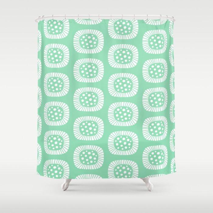 Mid Century Modern Atomic Sunburst Mint Green Shower Curtain