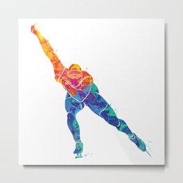 Watercolor Ice Skate Metal Print