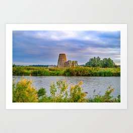 Historical St Benedictine abbey ruins on the river bank Art Print