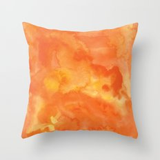 Watercolor Orange Throw Pillow