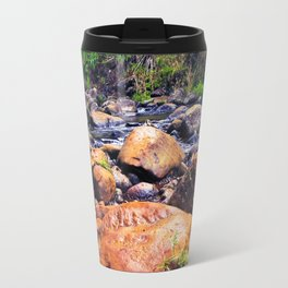 river in the forest with green tree and rock and stone Travel Mug