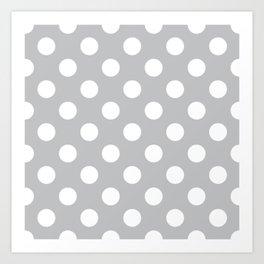 Silver sand - grey - White Polka Dots - Pois Pattern Art Print