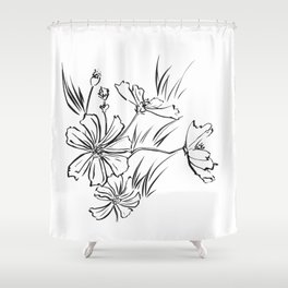 Cosmos Flowers Ink Drawing Shower Curtain