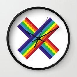 Rainbow Monogram - Letter X Wall Clock