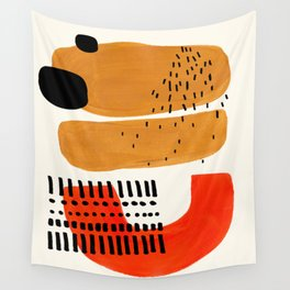 Mid Century Modern Abstract Minimalist Retro Vintage Style Fun Playful Ochre Yellow Ochre Orange  Wall Tapestry