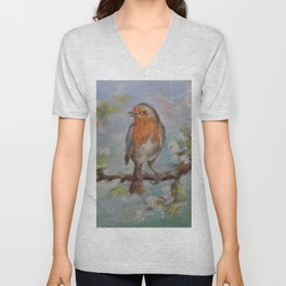 Red Robin Small bird on a blooming twig Wildlife spring scene Pastel drawing Unisex V-Neck