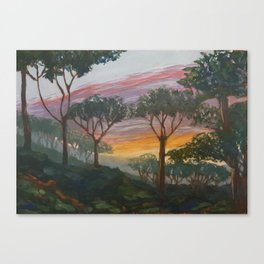 Sunset over pine hill Canvas Print