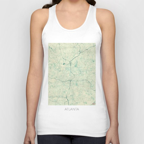 Atlanta Map Blue Vintage Unisex Tank Top