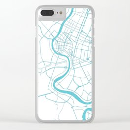 Bangkok Thailand Minimal Street Map - Turquoise and White II Clear iPhone Case