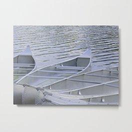 Canoes Waiting Metal Print