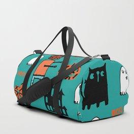 Cute Frankenstein and friends teal #halloween Duffle Bag