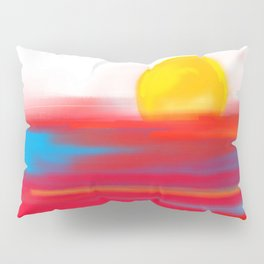 Sketchy Sun and Sea. Sunset and Sunrise Sketch Pillow Sham