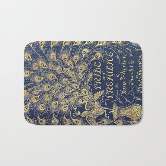 Pride and Prejudice by Jane Austen Vintage Peacock Book Cover Bath Mat