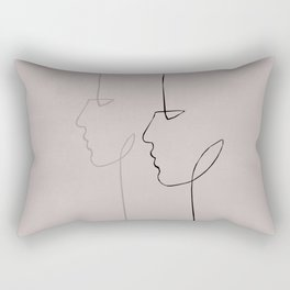2 Profile Faces - Line Art Rectangular Pillow