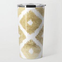 Modern chic faux gold leaf ikat pattern Travel Mug