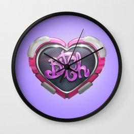 Techno Cyber Heart Bitch Wall Clock