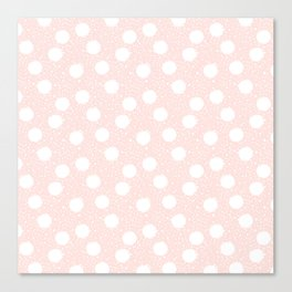 Snowfall White Polka Dots on Pink Canvas Print