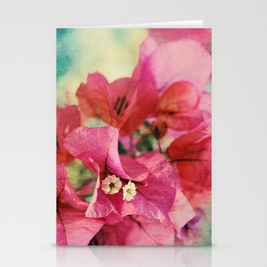 Vintage Bougainvillea Flowers in pink & green with textures Stationery Cards
