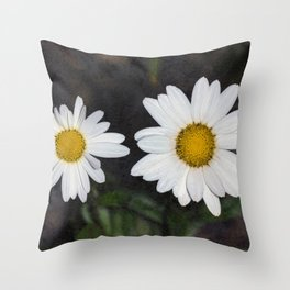Old And Young Daisies Texture Throw Pillow