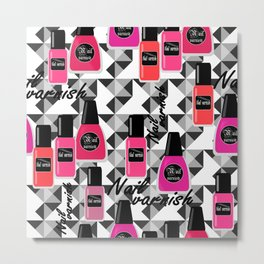 Seamless nail varnish nail polish pattern fashion cosmetic Metal Print