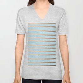 Abstract Drawn Stripes Gold Tropical Ocean Sea Turquoise Unisex V-Neck