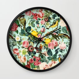 Floral and Birds III Wall Clock